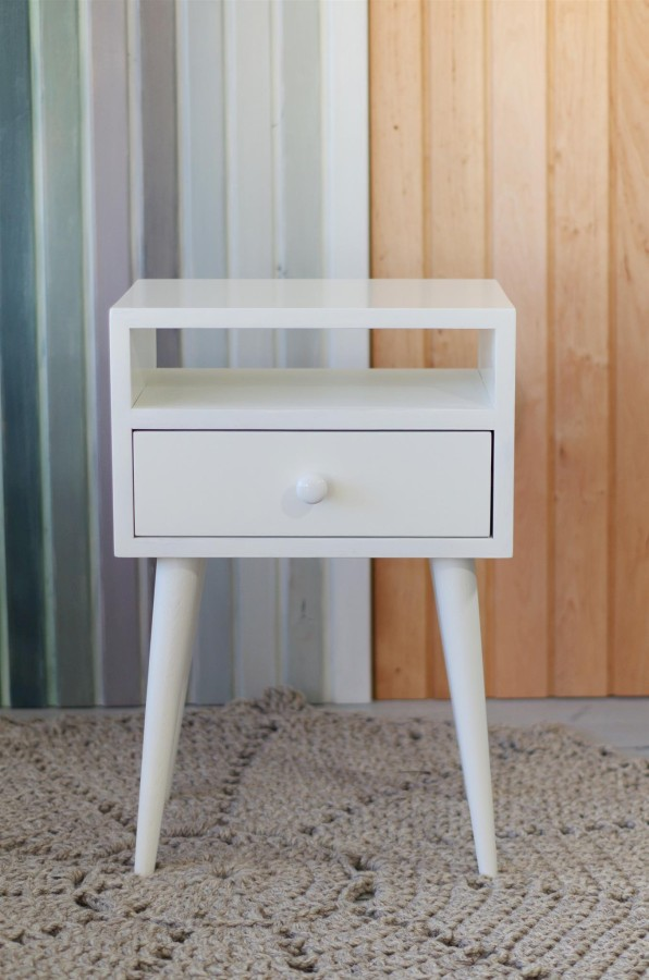 Oak wood white nightstand, NO-03-EP