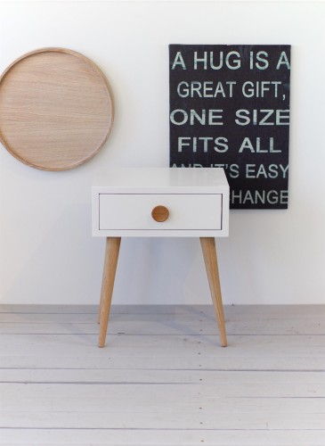 NORD side table 02 - white, legs natural