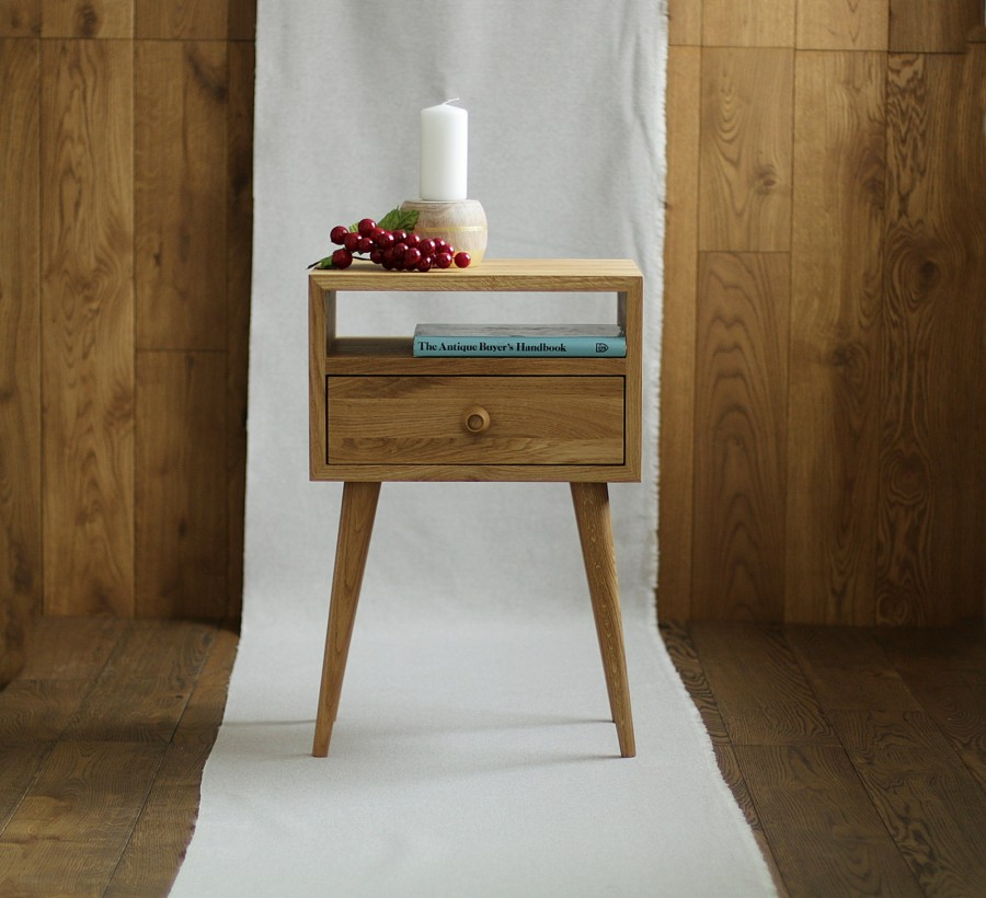 Solid Oak Bedside Table, NO-03-EN