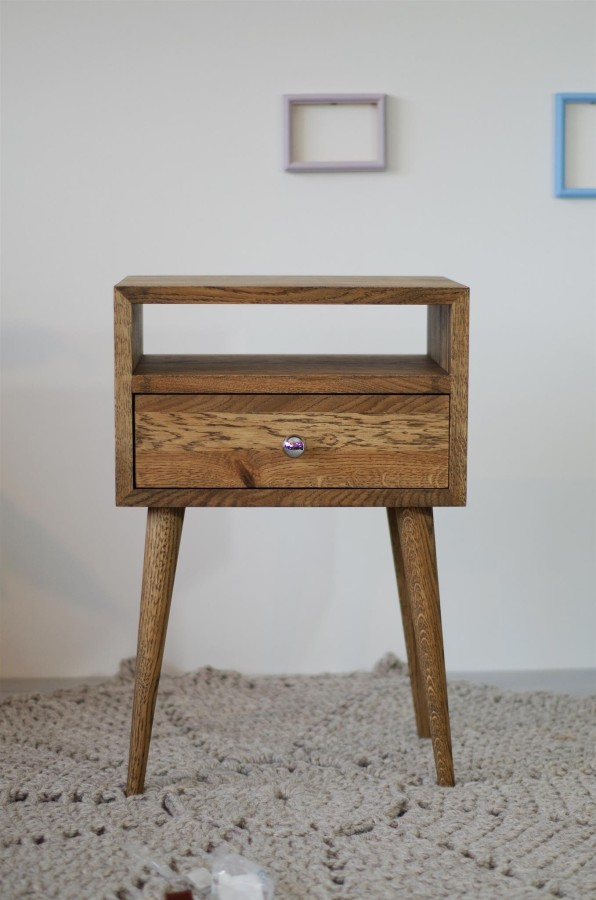 Solid Oak Bedside Table, NO-03-ES