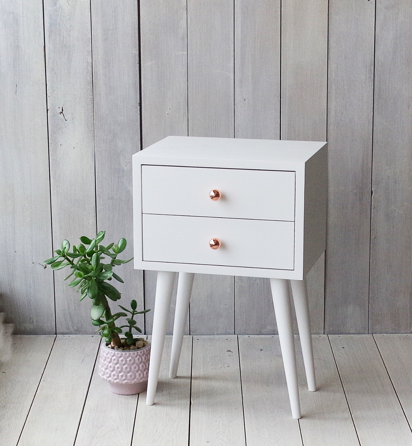 Solid Oak White Bedside Table No 04 Epw Aliusydecor
