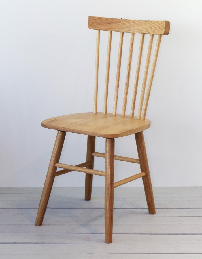 Set of two solid oak wooden chairs, SCAND