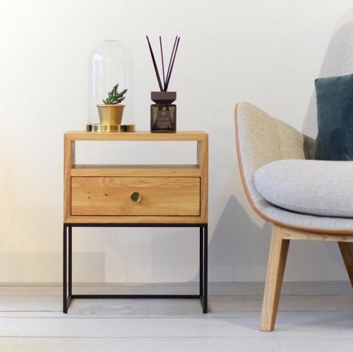 Industrial Bedside Table NORD-03 LIVING-K nat.oiled oak