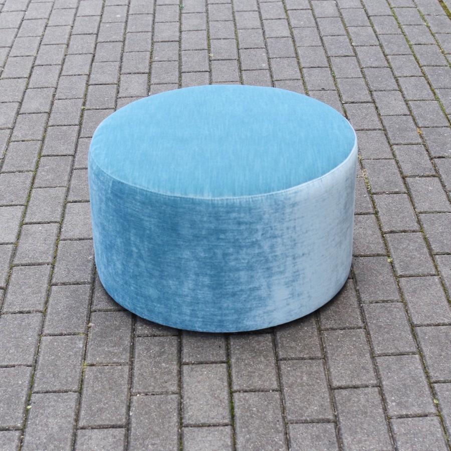 Large Round ottoman, light blue