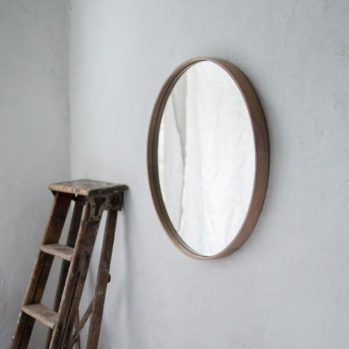 Oak frame hanging mirror HALO 60