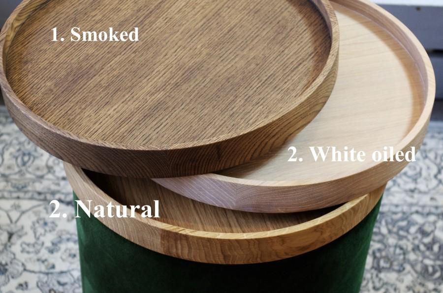 Set of Big Round pouf and wooden oak tray, RHOMBUS