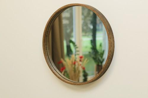 Oak frame hanging mirror HALO 40
