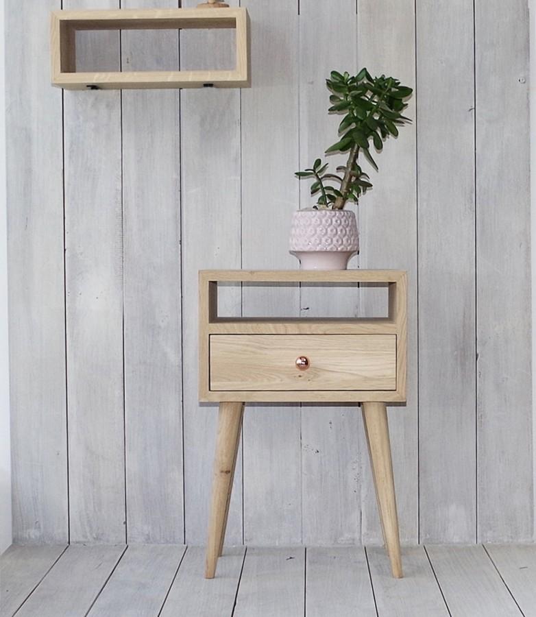 Solid Oak Bedside Table, NO-03-EH