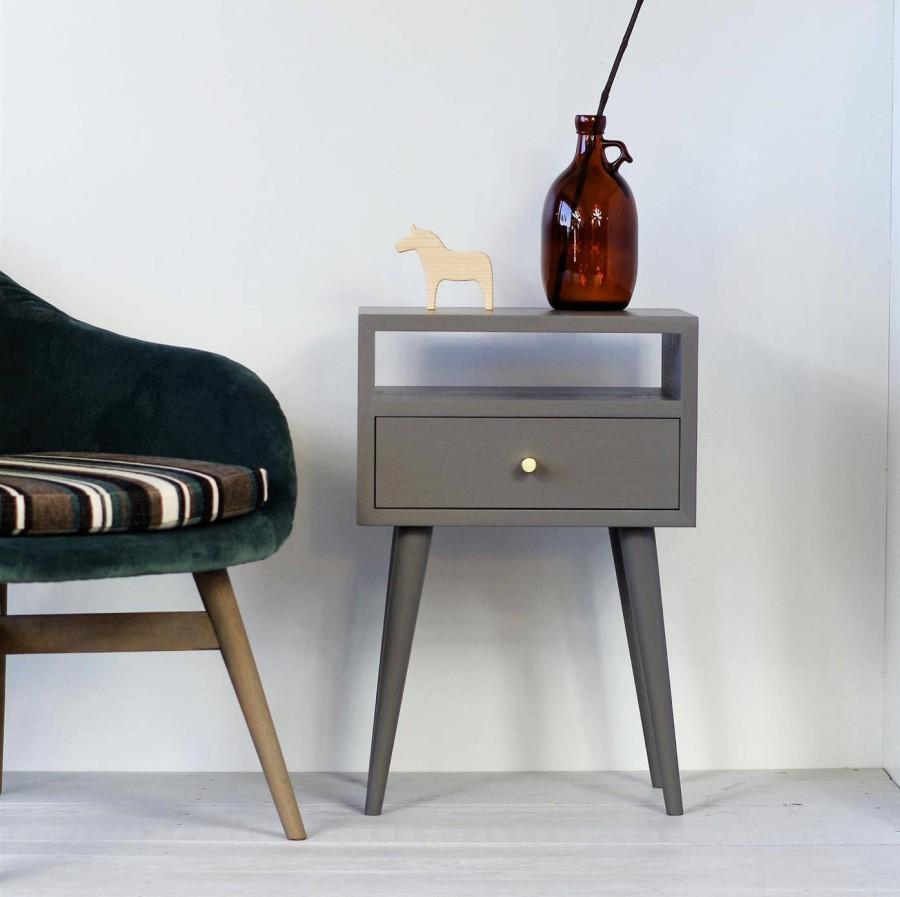 Oak wood white nightstand, NO-03-EP lava