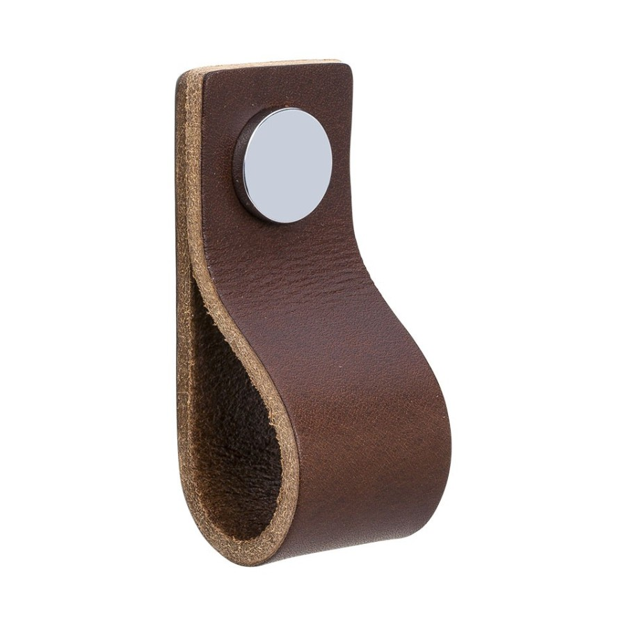 Handle LOOP 333133-11 leather brown / chrome