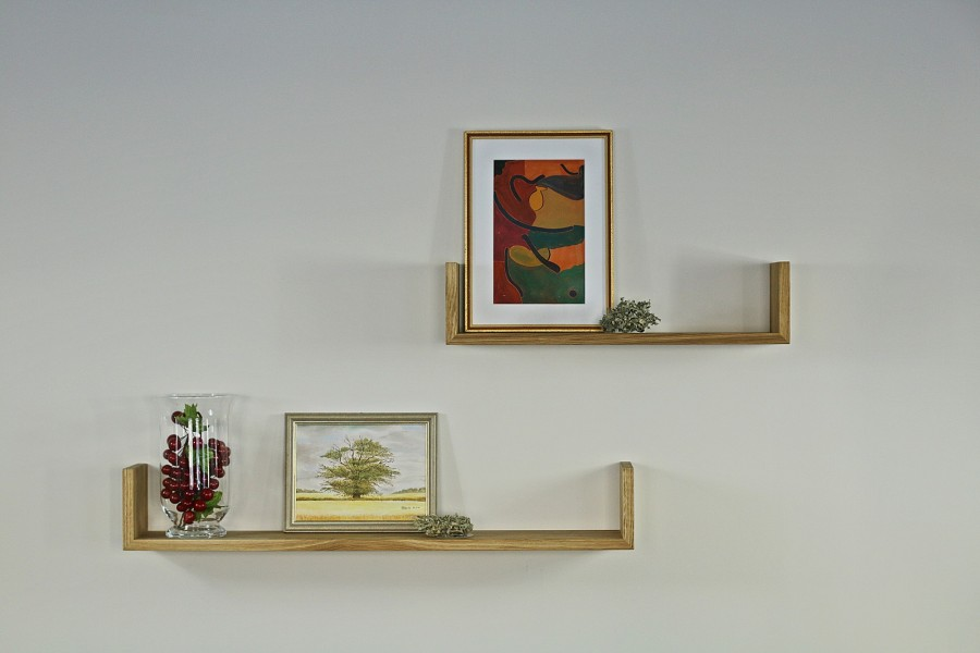 Set of wall oak shelf natural oiled GR60/90