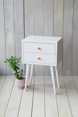 Solid oak white bedside table NO-04-EPW