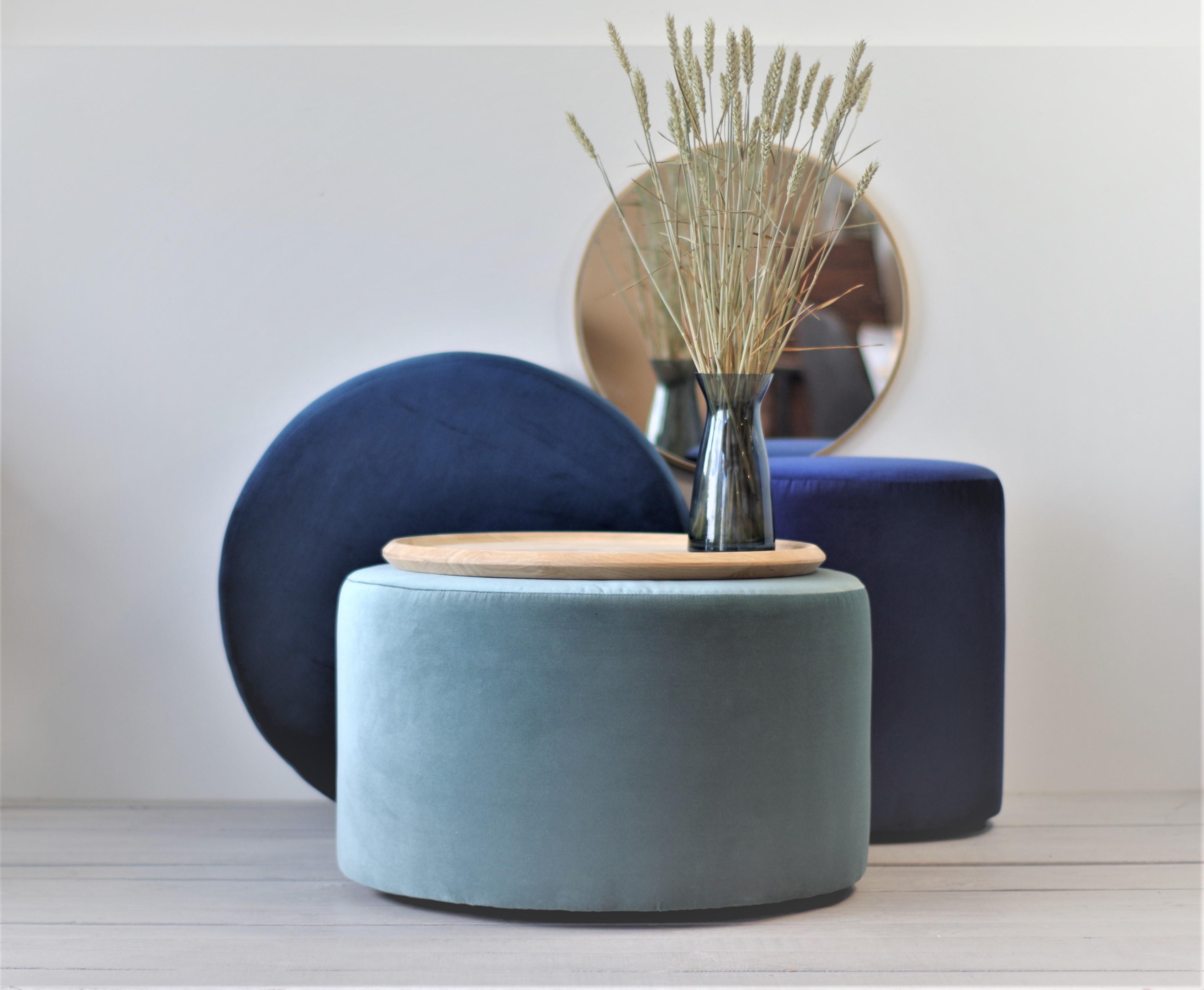 Large Round Ottoman Blue Aliusydecor