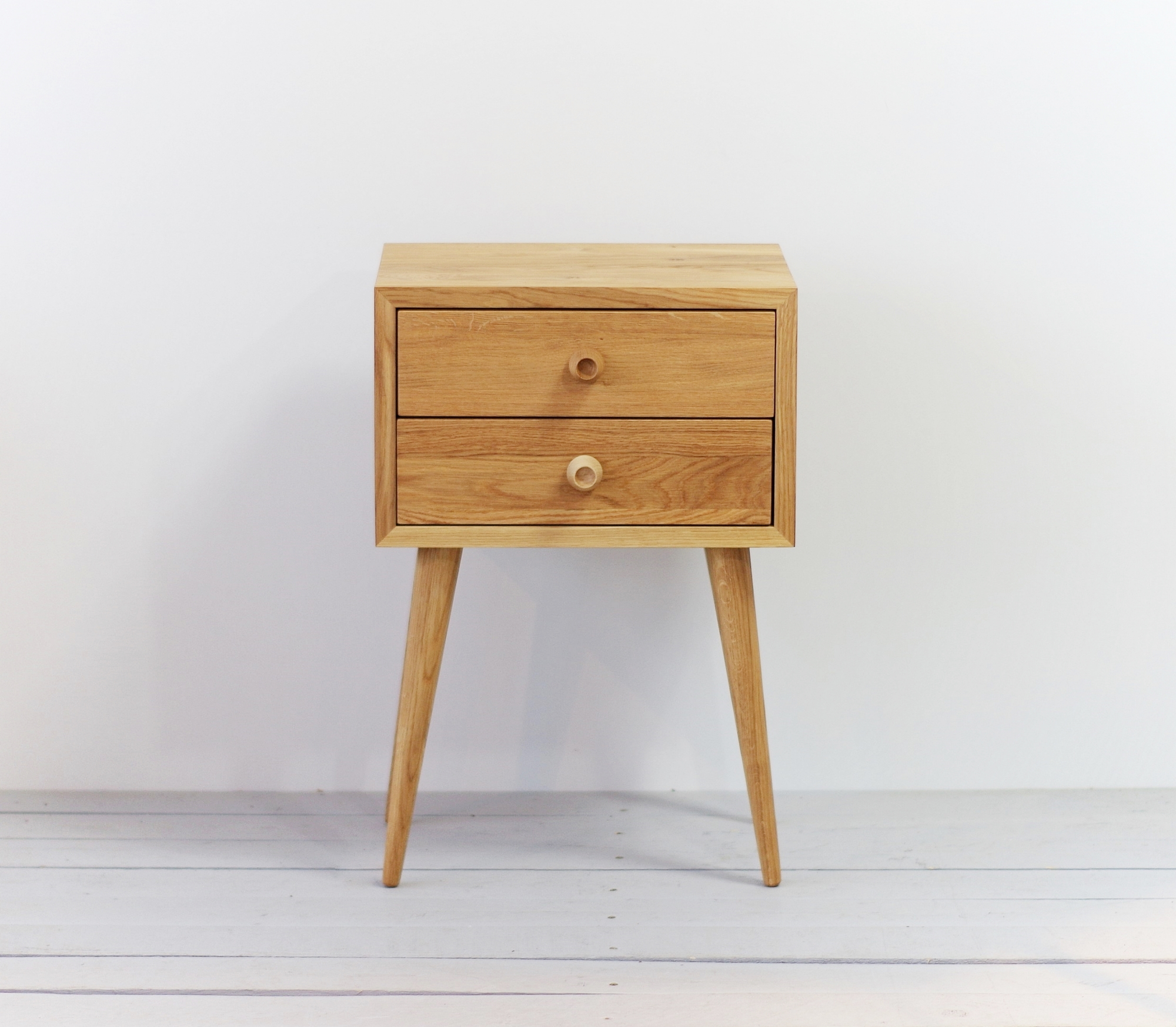 Oak 2 Drawers Nightstand No 04 En Natural Oiled
