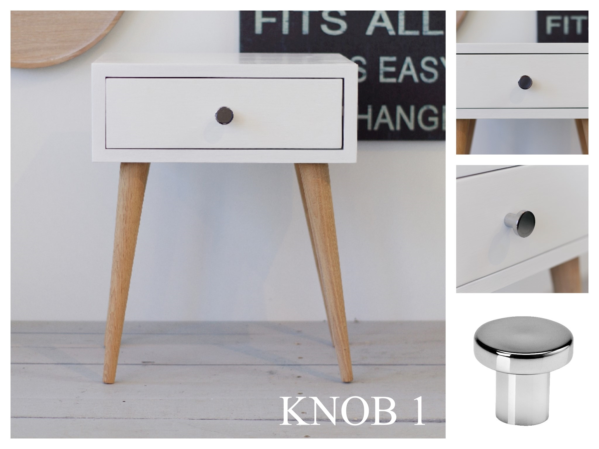 Nord Side Table 02 White Legs Natural