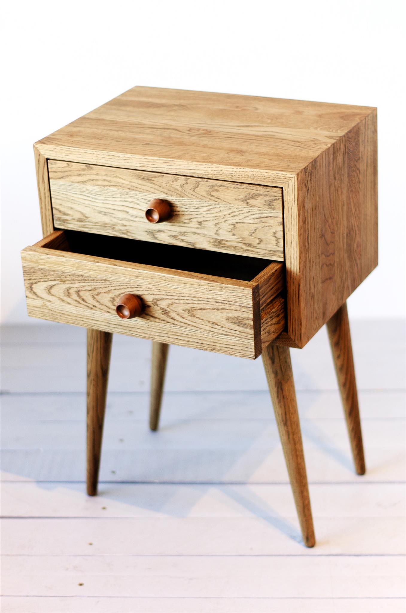Oak 2 Drawers Smoked Nightstand No 04 Es