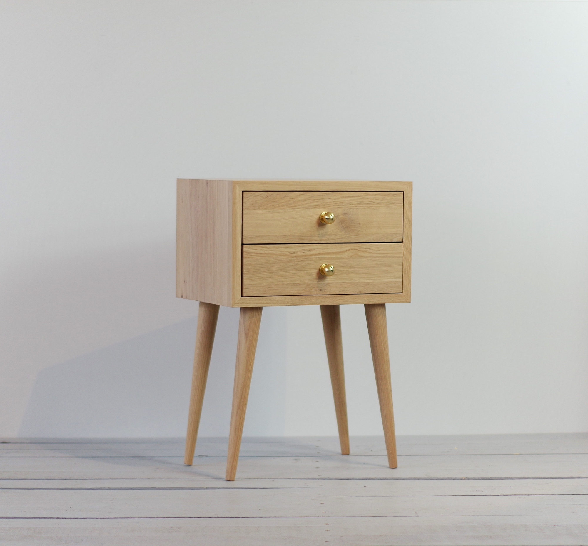 Oak 2 Drawers White Oiled Nightstand No 04 Eh