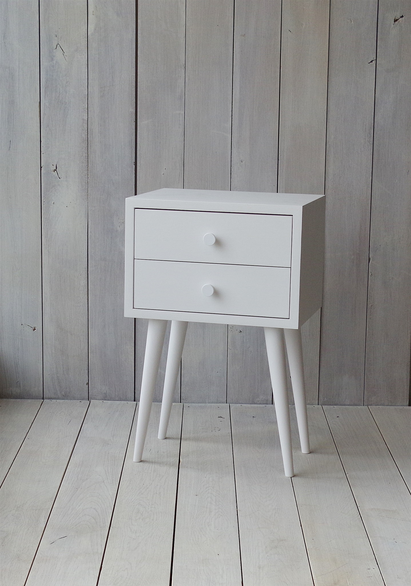 Oak White Bedside Table No 04 Epw